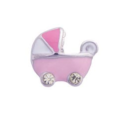 Floating Charm - Baby Girl Pram | Celebration Charm| Celebration Floating Charm | Totem Lockets | Floating Charm Lockets