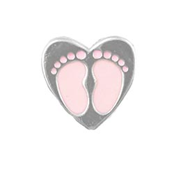 Floating Charm - Baby Girl Footprints Heart | Celebration Charm| Celebration Floating Charm | Totem Lockets | Floating Charm Lockets
