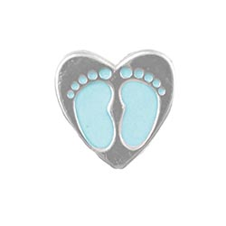 Floating Charm - Baby Boy Footprints Heart | Celebration Charm| Celebration Floating Charm | Totem Lockets | Floating Charm Lockets