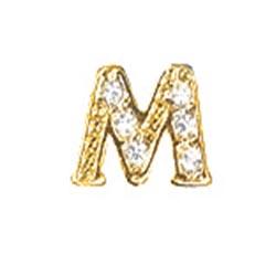 Floating Charm - M   Gold   Alphabet Charm  Alphabetical Floating Charm   Letter Charm  Initials Floating Charm  Totem Lockets   Floating Charm Lockets