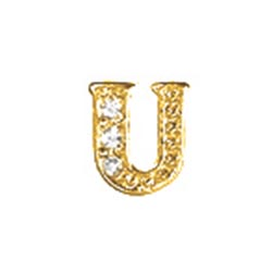 Floating Charm - U   Gold   Alphabet Charm  Alphabetical Floating Charm   Letter Charm  Initials Floating Charm  Totem Lockets   Floating Charm Lockets