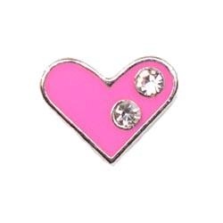 Floating Charm - Pink Crystal Love Heart | Love Charm| Love Floating Charm | Totem Lockets | Floating Charm Lockets